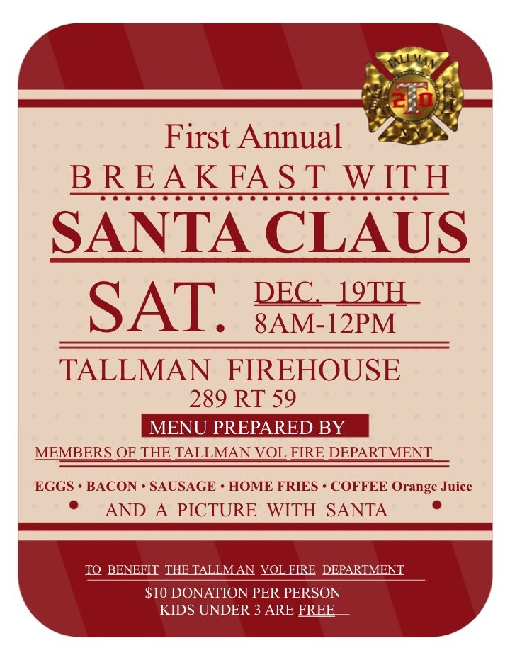 Breakfast and Picture with Santa, Dec 19, All Welcome $10 Donation for Each Person. Kids under 3 free