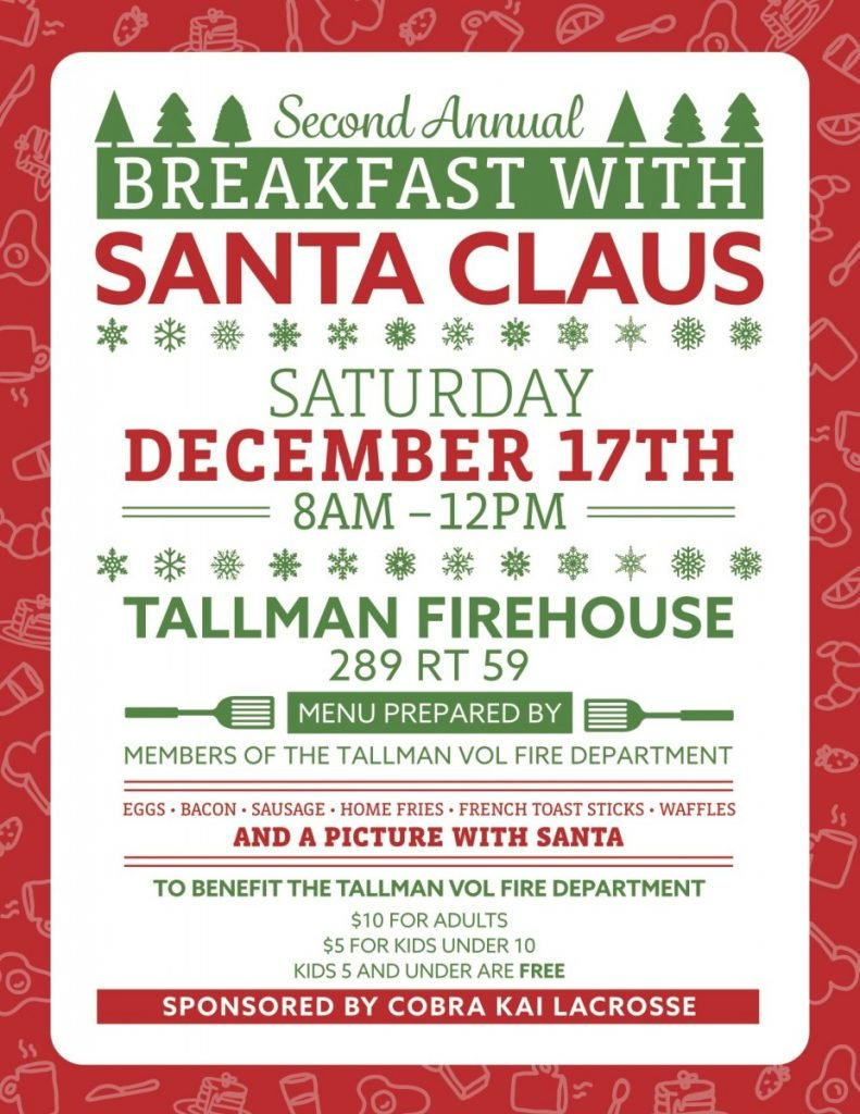 Breakfast with Santa- bring the entire family- fun event for all!